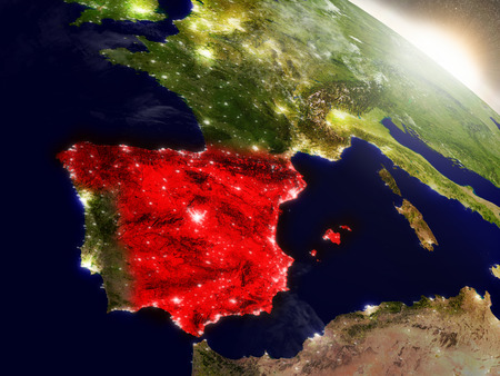 Spain highlighted in red as seen from Earths orbit in space. 3D illustration with highly detailed planet surface. Stock Photo