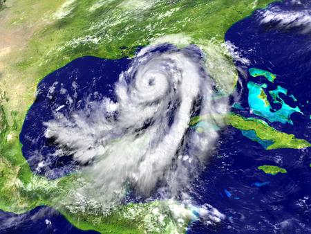 hurricane disaster: Catastrophic hurricane Matthew in Caribbean approaching US coast. 3D illustration.