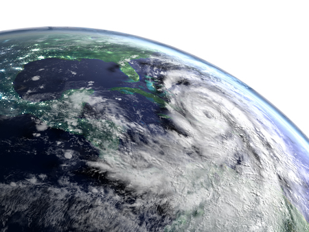 hurricane disaster: Huge hurricane Matthew as seen from space near Florida in America. 3D illustration. Stock Photo