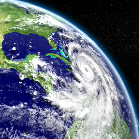 catastrophic: Disastrous hurricane Matthew in Caribbean. 3D illustration.