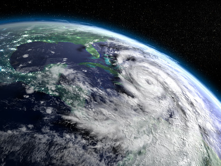 hurricane disaster: Huge hurricane Matthew near Florida in America as seen from space. 3D illustration. Stock Photo
