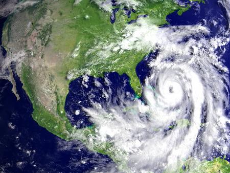 hurricane disaster: Huge hurricane Matthew in Atlantic near Florida. 3D illustration.