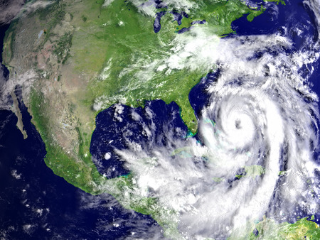 Huge hurricane Matthew in Atlantic near Florida. 3D illustration.