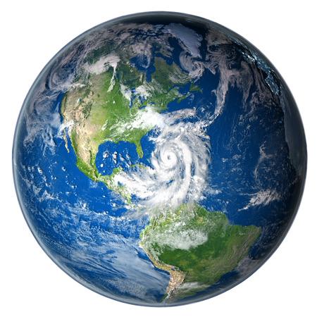 Huge hurricane Matthew near Florida in America. 3D illustration isolated on white background.