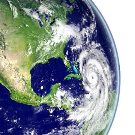 hurricane disaster: Huge hurricane Matthew in Caribbean. 3D illustration. Stock Photo