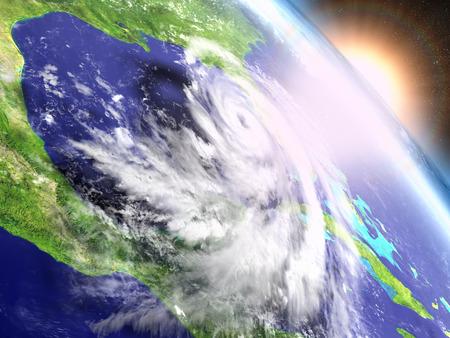 Colorful sunrise above catastrophic hurricane Matthew above Florida in America. 3D illustration.