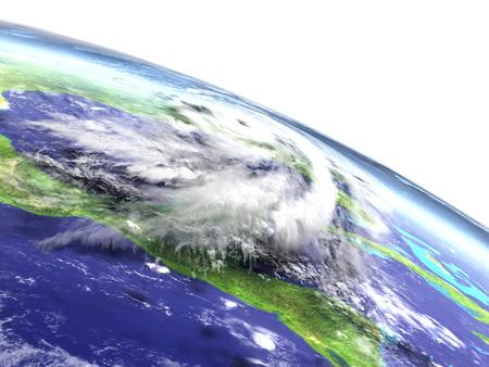 hurricane disaster: Enormous hurricane Matthew above the coast of Florida, USA. 3D illustration.