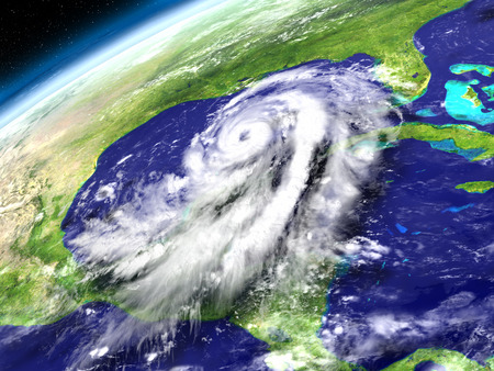 catastrophic: Huge hurricane Matthew in Caribbean approaching Florida in America. 3D illustration. Stock Photo