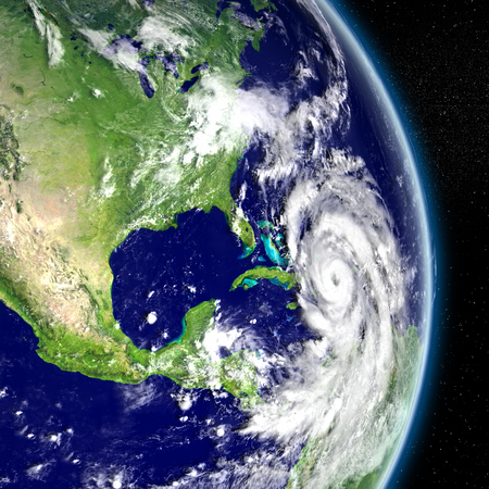 catastrophic: Disastrous hurricane Matthew approaching Florida in America. 3D illustration. Elements of this image furnished by NASA Stock Photo