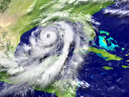 hurricane disaster: Huge hurricane Matthew near Florida in America. 3D illustration. Elements of this image furnished by NASA