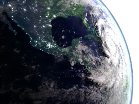 hurricane disaster: City light visible in the early morning when hurricane Matthew approaches Florida in America. 3D illustration. Elements of this image furnished by NASA