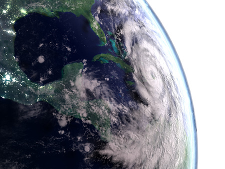 hurricane disaster: Huge hurricane Matthew above Cuba heading towards Florida. 3D illustration. Stock Photo