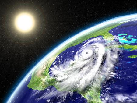 Huge hurricane Matthew seen from orbit near Florida in America. 3D illustration.