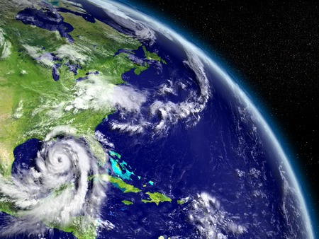 hurricane disaster: Huge hurricane Matthew in Mexican Gulf near Florida in America. 3D illustration. Elements of this image furnished by NASA Stock Photo