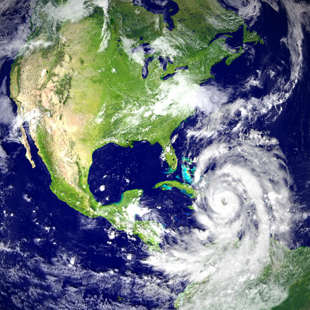 Huge hurricane Matthew near Florida in America. 3D illustration. Elements of this image furnished by NASA