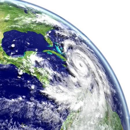 catastrophic: Huge hurricane Matthew near Florida in America. 3D illustration.