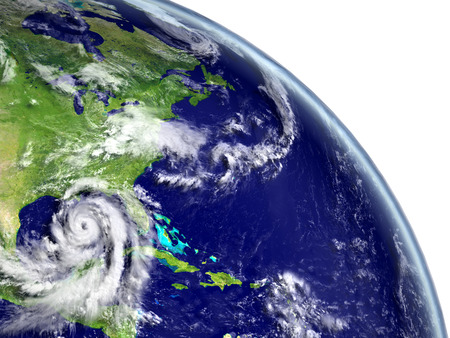 Disastrous hurricane Matthew in Caribbean approaching american coast. 3D illustration.