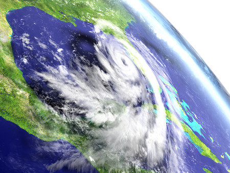 Hurricane Matthew seen in Caribbean from the orbit. 3D illustration. Stock Photo