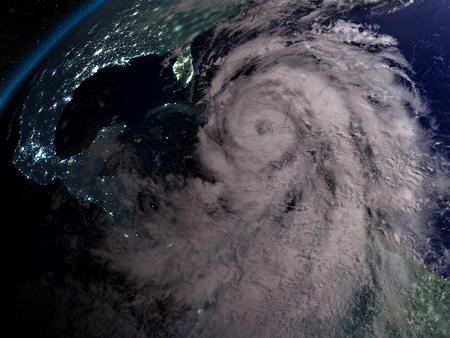 hurricane disaster: Huge hurricane Matthew at night near Florida in America. 3D illustration. Stock Photo