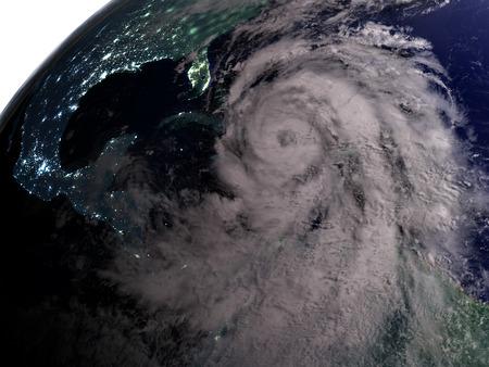 hurricane disaster: Night over America as hurricane Matthew approaches the coastline. 3D illustration. Stock Photo