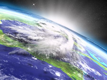catastrophic: Catastrophic hurricane Matthew near Florida in America seen from orbit during sunrise. 3D illustration.