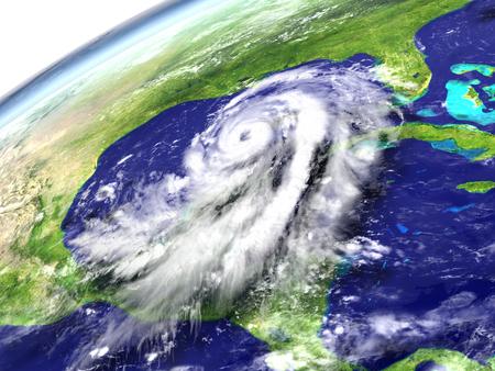 catastrophic: Massive hurricane Matthew near Florida in America. 3D illustration.