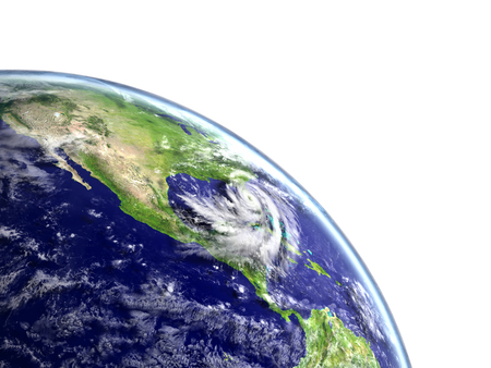 hurricane disaster: Huge hurricane Matthew approaching american coast near florida. 3D illustration. Stock Photo