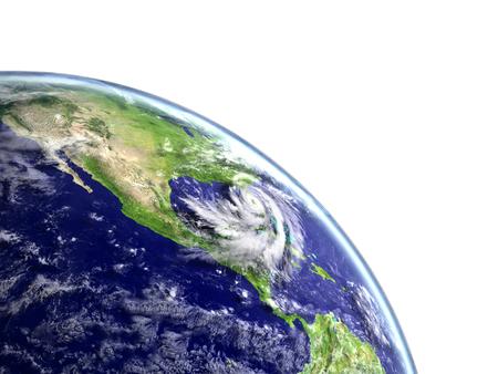 Huge hurricane Matthew approaching american coast near florida. 3D illustration. Stock Photo