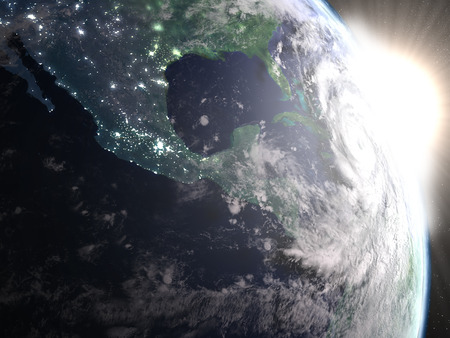 hurricane disaster: Hurricane Matthew seen from space from space approaching Florida in America during sunrise. 3D illustration.