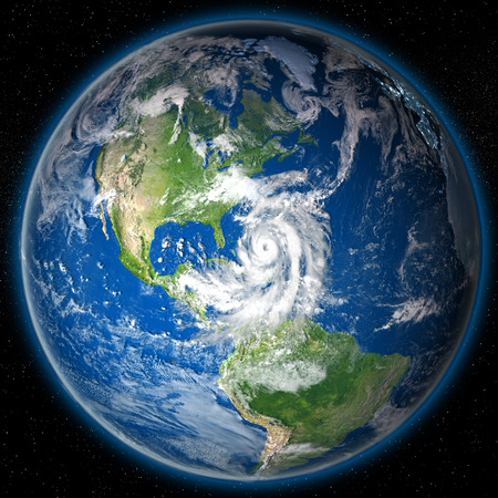 hurricane disaster: Huge hurricane Matthew approaching coast of Florida. 3D illustration. Stock Photo
