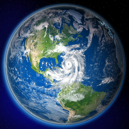 catastrophic: Satellite view of huge hurricane approaching coast of Florida. 3D illustration. Stock Photo