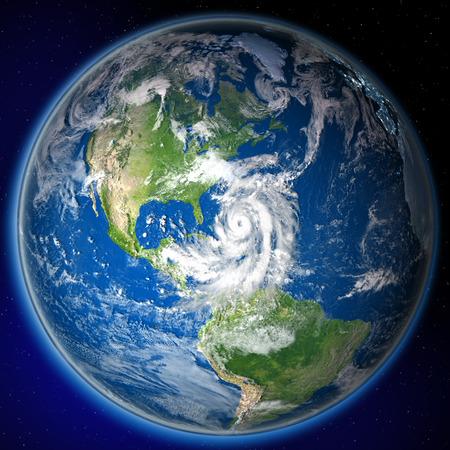 Satellite view of huge hurricane approaching coast of Florida. 3D illustration. Stock Photo