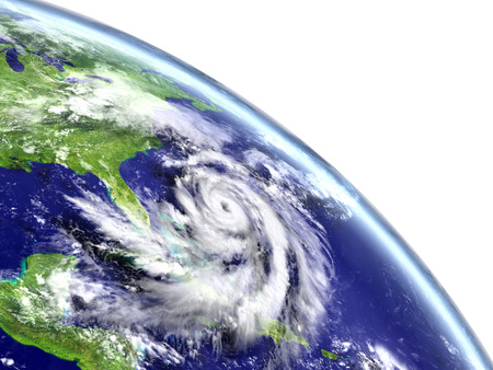 Eye of hurricane Matthew approaching Florida in America. 3D illustration.