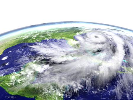 Devastating hurricane Matthew above Florida and Caribbean. 3D illustration.