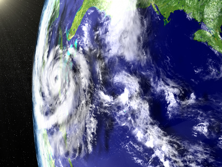 catastrophic: Space view of huge hurricane in Caribbean heading towards Florida in America. 3D illustration.