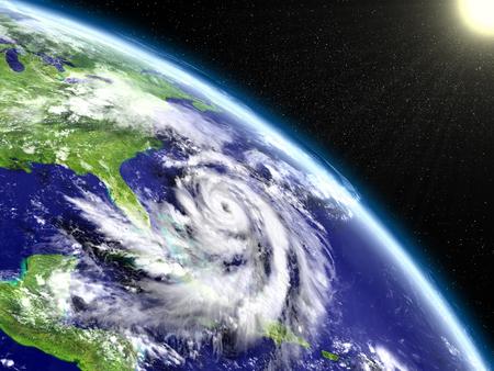 Spectacular satellite view of hurricane Matthew near Florida in America. 3D illustration.