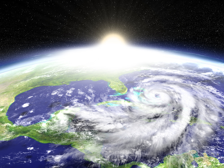 approaches: Sun rising above Earth as disastrous hurricane Matthew approaches Florida in America. 3D illustration. Stock Photo