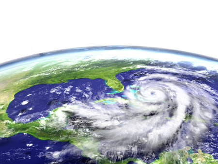 Enormous hurricane Matthew near Florida in America. 3D illustration.