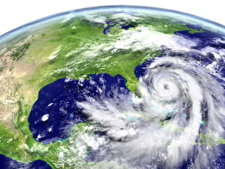 Massive hurricane Matthew approaching Florida, USA. 3D illustration. Stock Photo