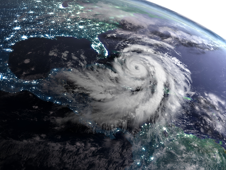 Satellite view of night over America with masive hurricane in Caribbean. 3D illustration.