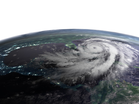 Night view of Earth from orbit as hurricane Matthew is approaching Florida in America. 3D illustration. Stock Photo