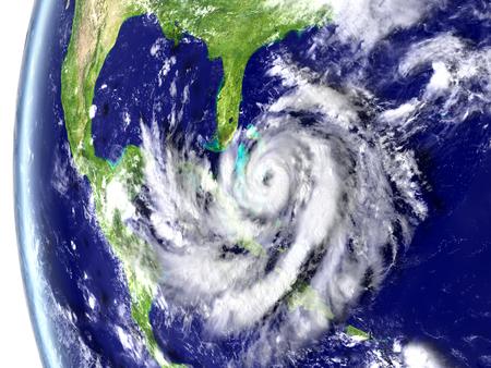 catastrophic: Enormous hurricane Matthew heading towards Florida, USA. 3D illustration.