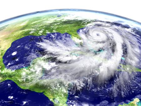Huge hurricane above Florida in America. 3D illustration.