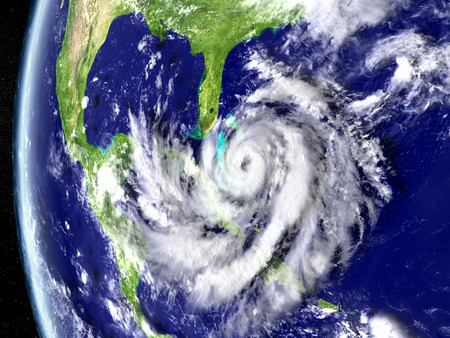catastrophic: Illustration of hurricane Matthew approaching Florida in America. 3D illustration.