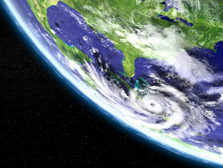 Huge hurricane in Caribbean approaching Florida in America. 3D illustration.