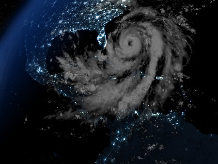 catastrophic: Night on Earth with visible hurricane Matthew approaching Florida in America. 3D illustration. Stock Photo