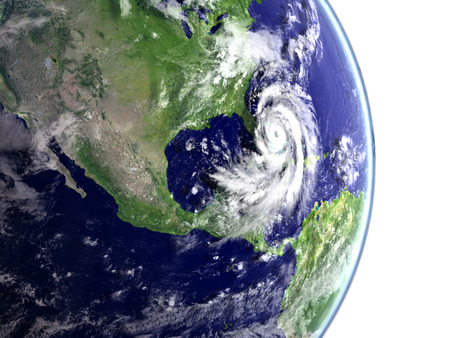 catastrophic: Catastrophic hurricane Matthew above Florida and Caribbean. 3D illustration.