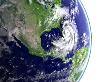 Catastrophic hurricane Matthew above Florida and Caribbean. 3D illustration.