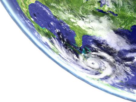 catastrophic: Hurricane Matthew viewed from satellite heading towards Florida in America. 3D illustration.