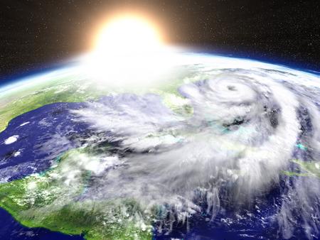 Sun setting as hurricane Matthew is approaching Florida in America. 3D illustration.